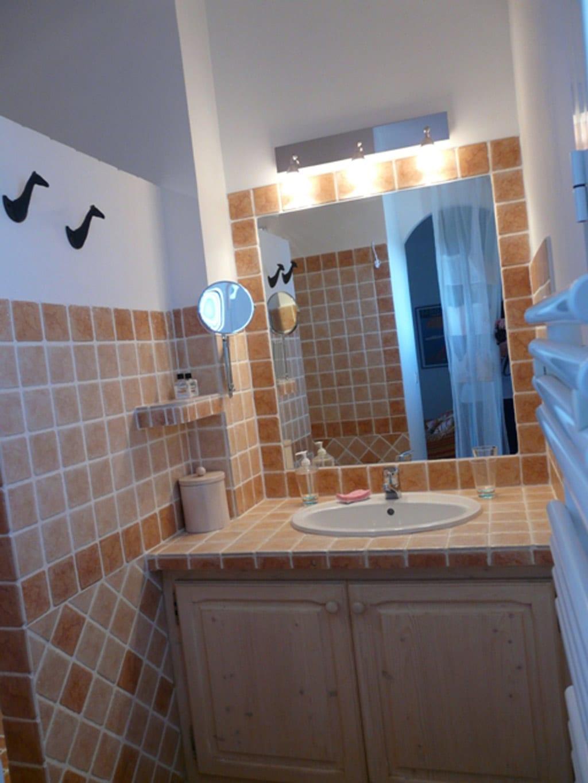 Les chambres salles de bain et la mezzanine location for Chambre et salle de bain